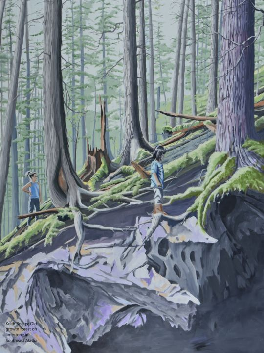 Old-growth forest on limestone in Southeast Alaska - Painting,  60x48x1.5 in, ©2019 by Keith Boggs -                                                                                                                                                                                                                                                                                                                                                                                                                                                      Surrealism, surrealism-627, Landscape, cave, limestone, old-growth, ecosystem art, alaska, geology
