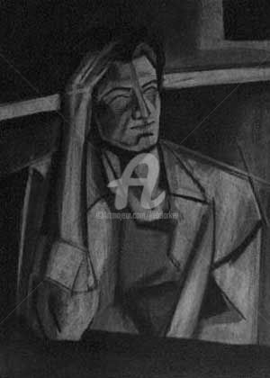 """Drawing titled """"Seated Woman"""" by Kel Clarke, Original Art, Charcoal"""