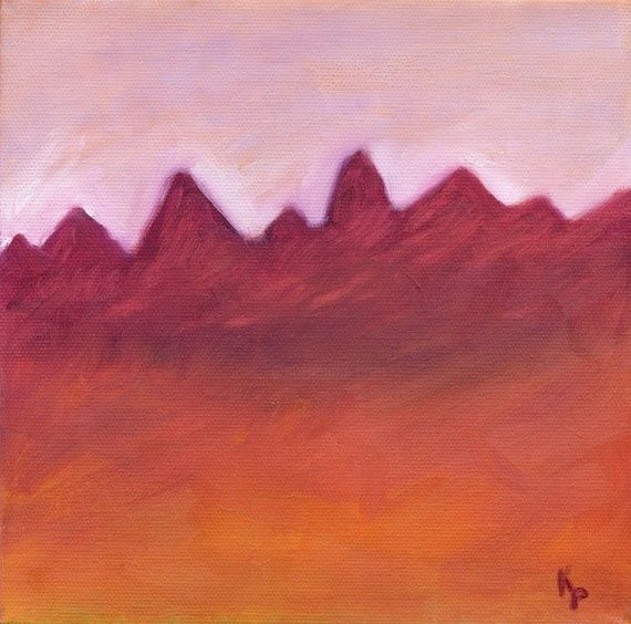 """Painting titled """"Red landscape"""" by Kelly Parker, Original Art, Oil"""