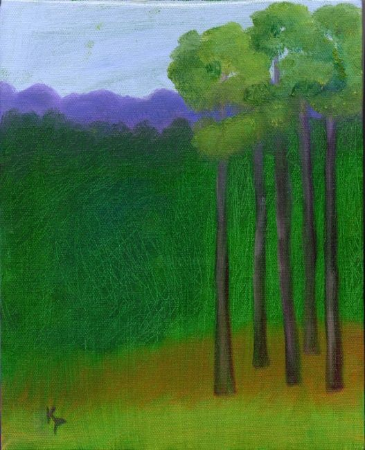 """Painting titled """"5 trees"""" by Kelly Parker, Original Art, Oil"""
