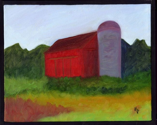 """Painting titled """"Red Barn"""" by Kelly Parker, Original Art, Oil"""