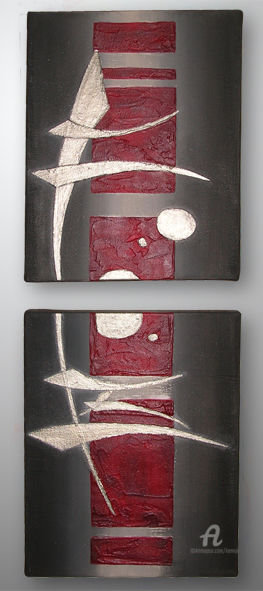 Brillan C' - Painting,  60x24 cm ©2010 by LiLou Kemoji (Sauvegrain) -                                                                                                Contemporary painting, Abstract Art, Canvas, Asia, Calligraphy, Outer Space, Calligraphie Kemoji par Lilou, lilou, kemoji, sauvegrain, calligraphie, cosmique, 3d, rouge, etain, blanc, noir, diptyque