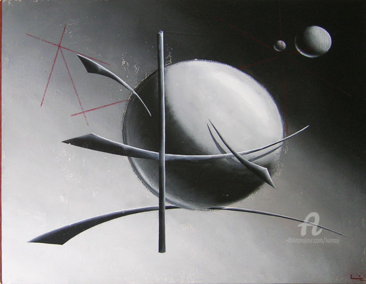 Yag The Space Boat - Painting,  27.6x35.4x1.2 in, ©2010 by Lilou Sauvegrain (Kemoji) -                                                                                                                                                                                                      Abstract Art, Calligraphy, Outer Space, Calligraphie Kemoji par Lilou