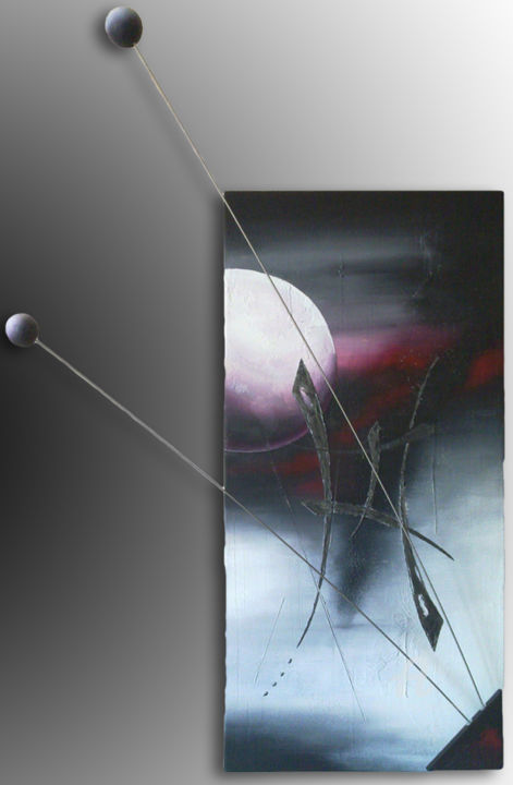L'Empreinte - Painting,  70x4x100 cm ©2010 by LiLou Kemoji (Sauvegrain) -                                                                                                                                                            Contemporary painting, Abstract Art, Wood, Stainless Steel, Paper, Canvas, Abstract Art, Calligraphy, Outer Space, Colors, Light, Calligraphie Kemoji par Lilou cosmik calligraphy, lilou, kemoji, sauvegrain, abstrait, contemporain, espace, cosmos, 3D, toile, sculpture, relief, 4D, calligraphie, matériaux, mobile, couleurs, matière