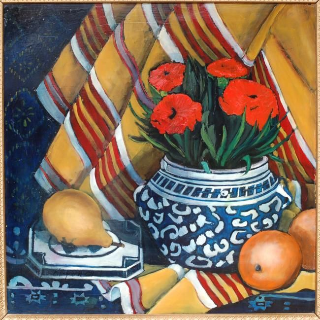 Pears and Red Carnations - Painting,  42x42 in, ©2012 by Kenneth Paprock -                                                                                                                                                                          Classicism, classicism-933, Original Oil Painting on Masonite by Artist Kenneth Paprock