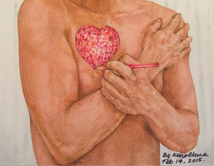 """Drawing titled """"Embrace Love"""" by Kent Chua, Original Art, Other"""