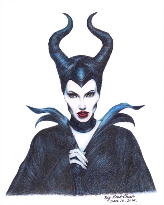 """Drawing titled """"Maleficent Once Upo…"""" by Kent Chua, Original Art, Other"""