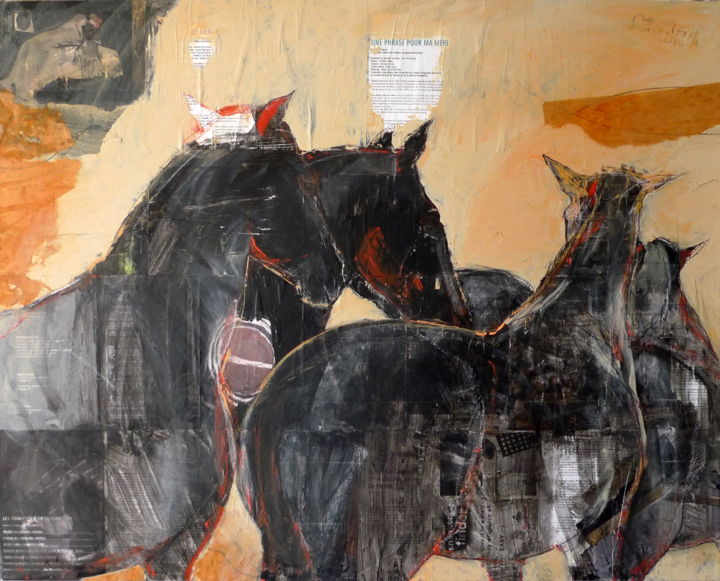Paint It Black - Painting,  80x100x2 cm ©2010 by LAURENCE POITRIN -                                                                                    Figurative Art, Abstract Expressionism, Contemporary painting, Stone, Animals, cheval, chevaux, troupeau de chevaux, chevaux noirs, cheval noir