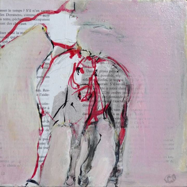 Danse - Painting,  20x20x3.5 cm ©2009 by LAURENCE POITRIN -                                                                                Figurative Art, Expressionism, Abstract Expressionism, Contemporary painting, Animals, cheval, cavalier, equitation, cheval rose