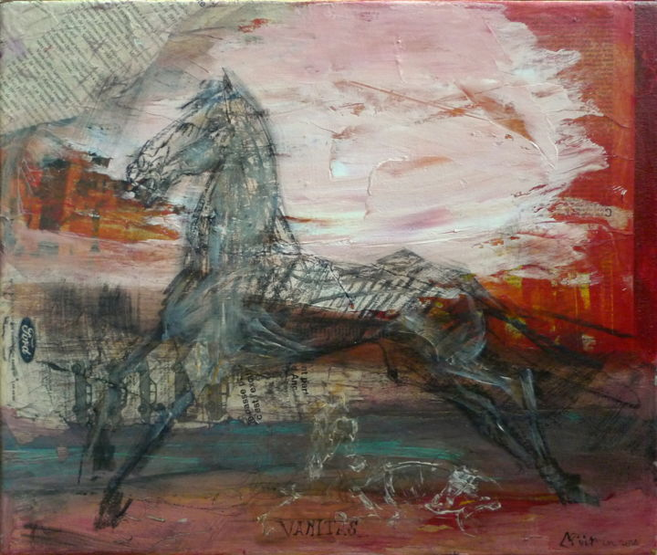 Collages Cheval, collages, expressionnisme, œuvre d'art par Laurence Poitrin