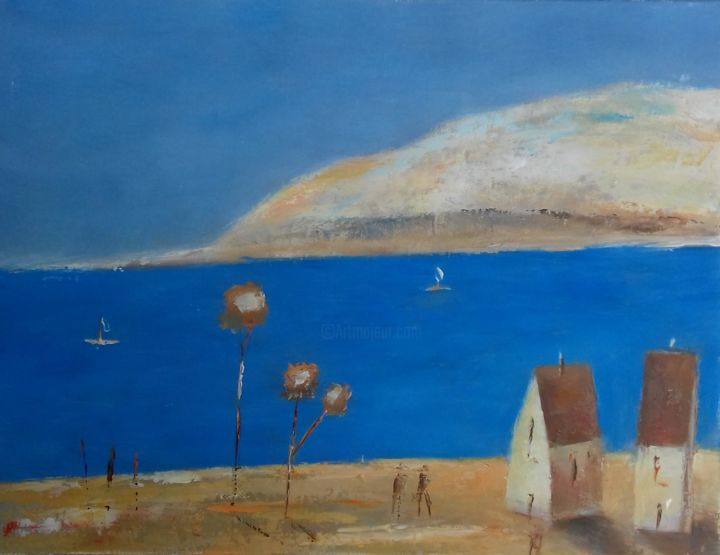 Summer Motif 1 - Painting,  9.1x11.8x0.8 in, ©2014 by Kestutis Jauniskis -                                                                                                                                                                                                                                                                                                                                                                                                                                                                                                                                                                                                                                                                                                                                                                                                                                                                  Abstract, abstract-570, Landscape, Kestutis, sea, landscape, oil painting, wall art, summer, motif, mood, blue, surface, abstract, contemporrary, colorful, fine art, twxture