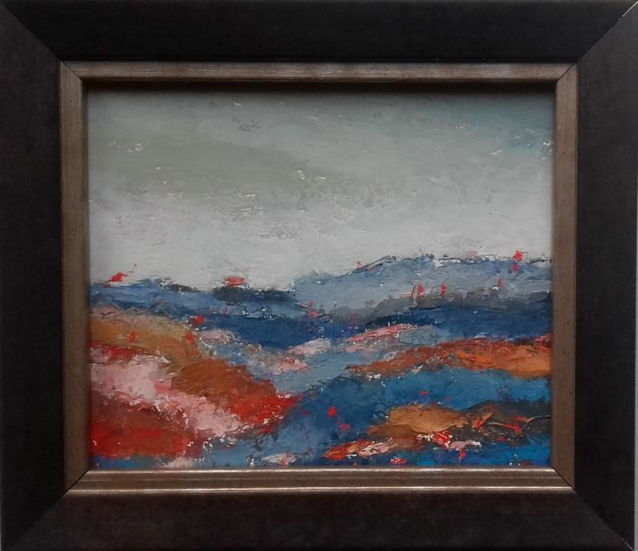 Abstraction 4 - Painting,  11.5x13.5x2 cm ©2018 by Kestutis Jauniskis -                                                        Abstract Art, Canvas, Landscape