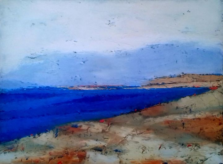 Saeside Landscape 1 - Painting,  18x24x2 cm ©2018 by Kestutis Jauniskis -                                            Abstract Art, Canvas, kestutis, abstract, oil painting, sea, seaside, mood, original, wall art, contemporary, colorful