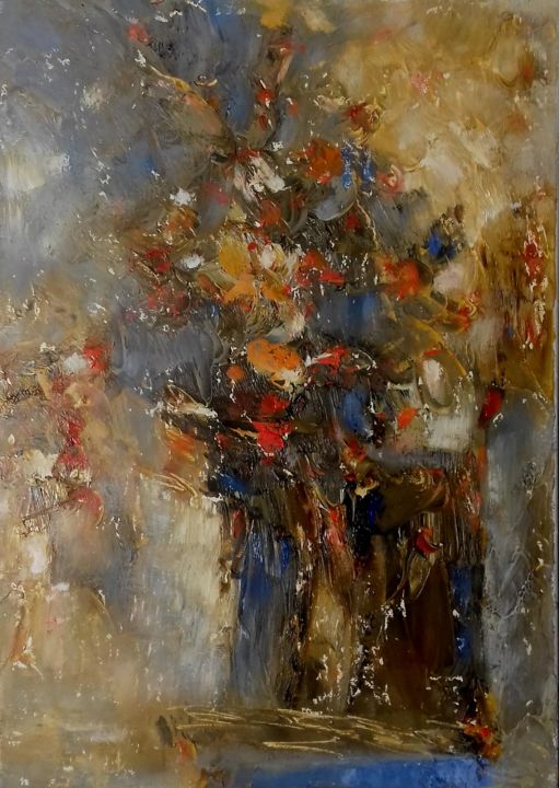 Flowers - Painting,  13.8x9.8x0.8 in, ©2018 by Kestutis Jauniskis -                                                                                                                                                                                                                                                                                                                                                                                                                                                                                                                                                                                                                                                                                  Abstract, abstract-570, Flower, kestutis, flower, abstract, oil painting, original, wall art, contemporary, fine art, canvas, mood, emotions