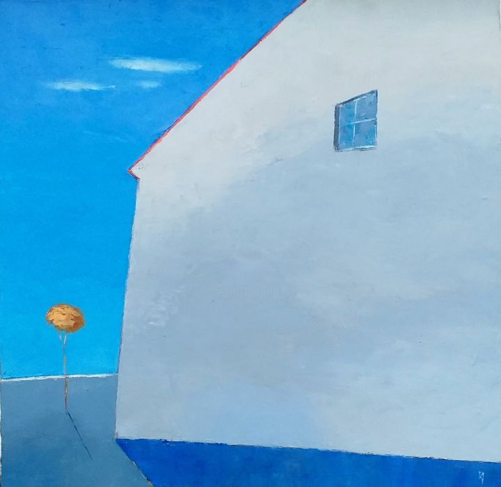 Blue Landscape With House - Painting,  18.5x18.5x0.8 in, ©2020 by Kestutis Jauniskis -                                                                                                                                                                                                                                                                                                                                                                                                                                                                                                                                                                                          Abstract, abstract-570, Landscape, oil painting, abstract, original, fine art, contemporary, blue, house, landscape, kestutis