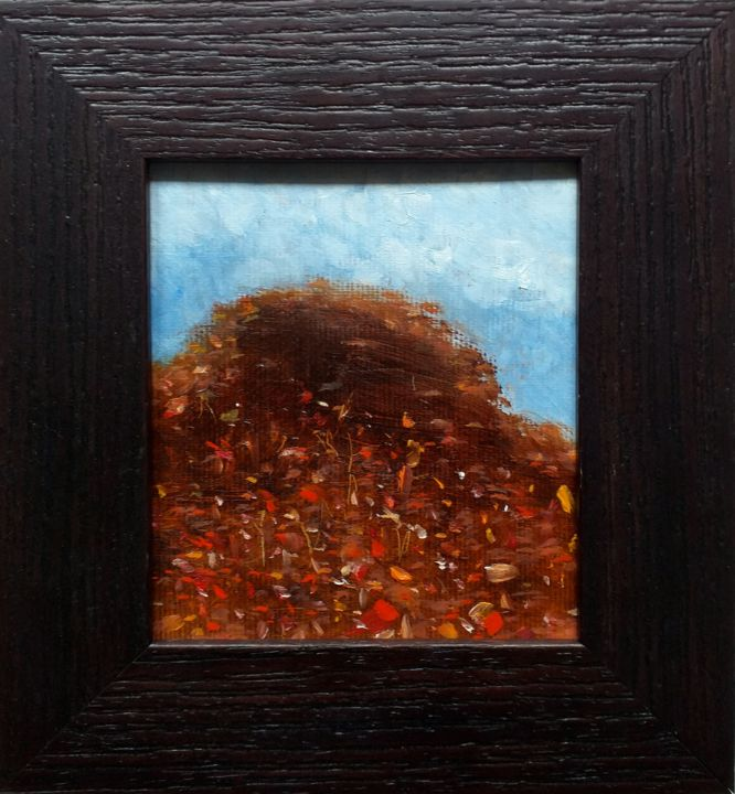 Blooming Mountain - Painting,  4.3x3.9x0.8 in, ©2020 by Kestutis Jauniskis -                                                                                                                                                                                                                                                                                                                                                              Abstract, abstract-570, Landscape, oil painting, abstract, original, small art