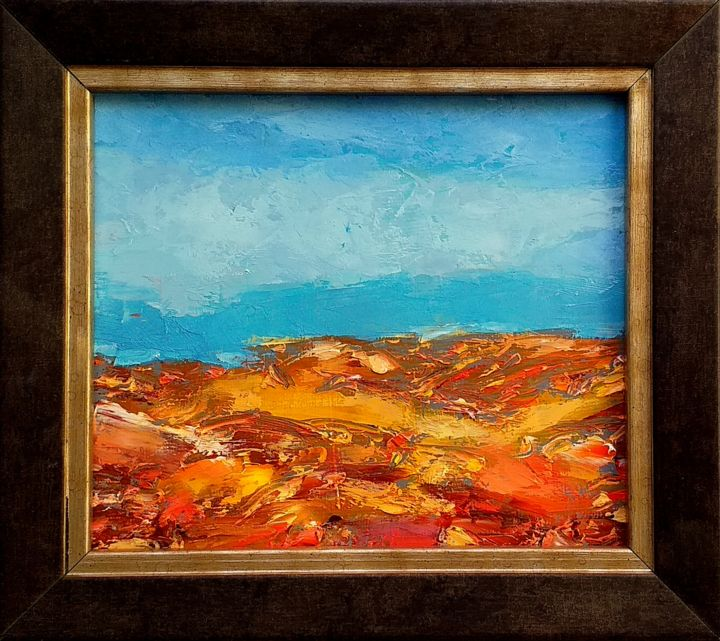 Abstraction 27 - Painting,  4.7x5.5x0.2 in, ©2020 by Kestutis Jauniskis -                                                                                                                                                                                                                                                                                                                                                                                                                                                                                                                                              Abstract, abstract-570, Landscape, oil painting, abstract, small painting, fine art, original, landscape, kestutis, contemporary