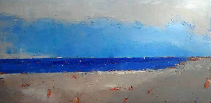 Along The Sea - Painting,  7.9x15.8x0.8 in, ©2020 by Kestutis Jauniskis -                                                                                                                                                                                                                                                                                                                                                                                                                                                                                                                                                                                          Abstract, abstract-570, Seascape, oil painting, abstract, original, sea, landscape, kestutis, fine art, contemporary, wall art