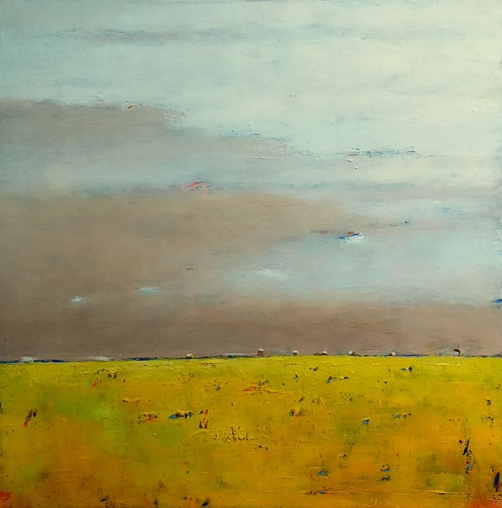 Spring Fields - Painting,  15.8x15.8x0.8 in, ©2020 by Kestutis Jauniskis -                                                                                                                                                                                                                                                                                                                                                                                                                                                                                                                                                                                                                                                                                  Abstract, abstract-570, Landscape, abstract, oil painting, kestutis, fine art, original, contemporary, wall art, canvas, spring, fields, yellow