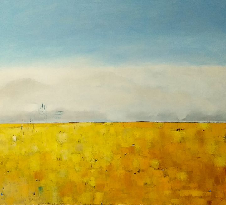 Spring Fields 1 - Painting,  24.8x27.6x0.8 in, ©2020 by Kestutis Jauniskis -                                                                                                                                                                          Abstract, abstract-570, Landscape
