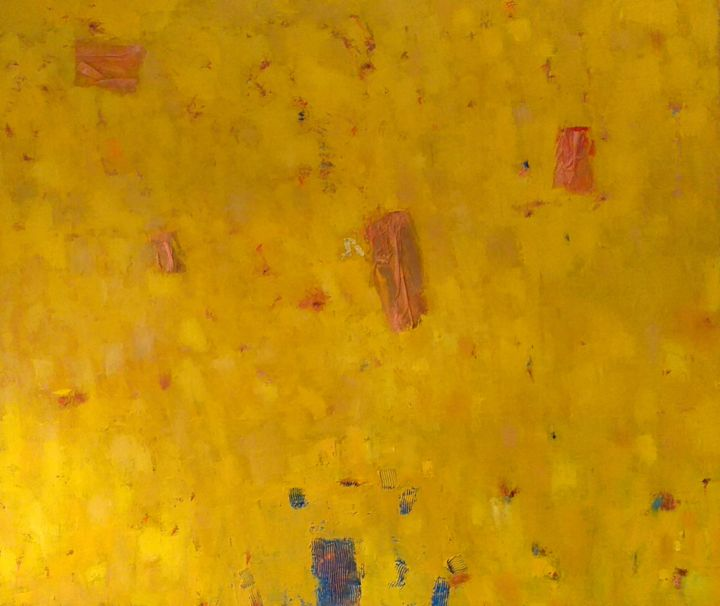 Abstraction 30 - Painting,  27.6x32.7x0.8 in, ©2017 by Kestutis Jauniskis -                                                                                                                                                                                                                                                                                                                                                                                                                                                                                                                                                                                                                                      Abstract, abstract-570, Abstract Art, kestutis, abstract, oil painting, original, fine art, wall art, contemporary, mood, emotions, yellow