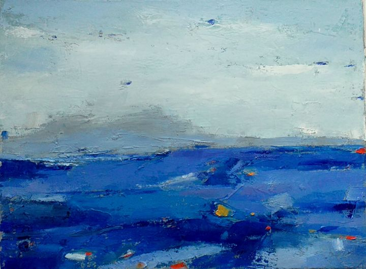 Abstraction 34 - Painting,  7.1x9.5x0.8 in, ©2020 by Kestutis Jauniskis -                                                                                                                                                                          Abstract, abstract-570, Landscape