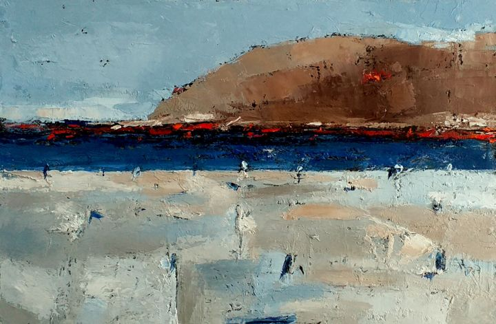 Evening At The Seaside - Painting,  7.9x11.8x0.8 in, ©2020 by Kestutis Jauniskis -                                                                                                                                                                                                                                                                                                                                                                                                                                                  Abstract, abstract-570, oil painting, abstract, seaside, mood, original, wall art, kestutis