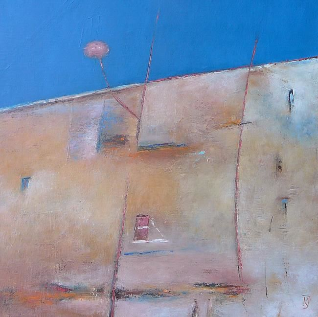 Wall Fragment 3 - Painting,  15.8x15.8 in, ©2010 by Kestutis Jauniskis -                                                                                                                                                                                                                                                                                                                                                                                                                                                                                                                                                                                                                                                                                                                                                                      Abstract, abstract-570, wall, collectible, kestutis jauniskis, oil painting, original, world, building, house, blue, pink, sky, emotions, feelings, wall art