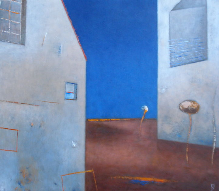 Feeling Of Space - Painting,  17.7x20.5 in, ©2011 by Kestutis Jauniskis -                                                                                                                                                                                                                                                                                                                                                                                                                                                                                                                                                                                                                                                                                                          Architecture, collectible, kestutis jauniskis, oil painting, original, world, building, architecture, house, blue, windows, sky, emotions, feelings, wall art
