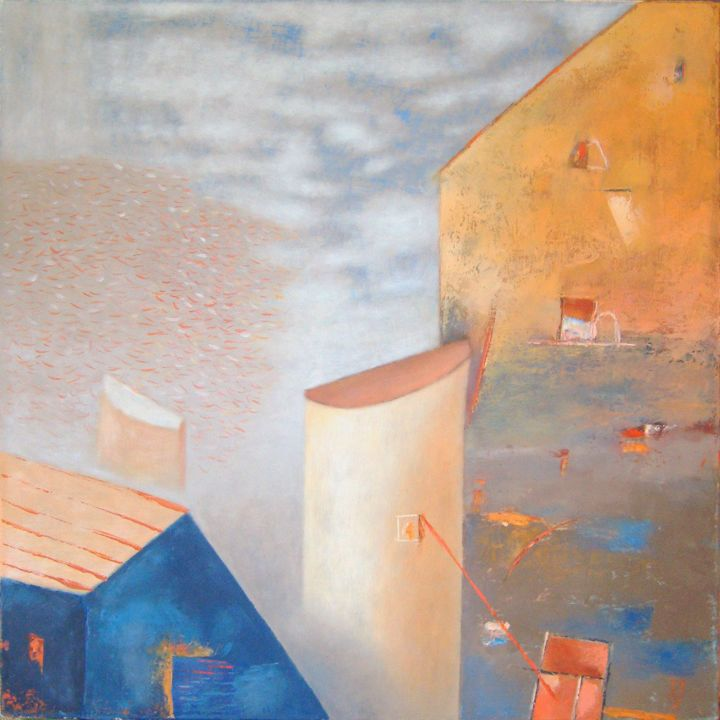 Architectural form - Painting,  0.8x19.7x19.7 in, ©2013 by Kestutis Jauniskis -                                                                                                                                                                                                                                                                                                                                                                                                                                                                                                                                                                                                                                                                                                                                                                      Abstract, abstract-570, collectible, kestutis jauniskis, oil painting, original, world, building, house, blue, pink, windows, sky, emotions, feelings, wall art