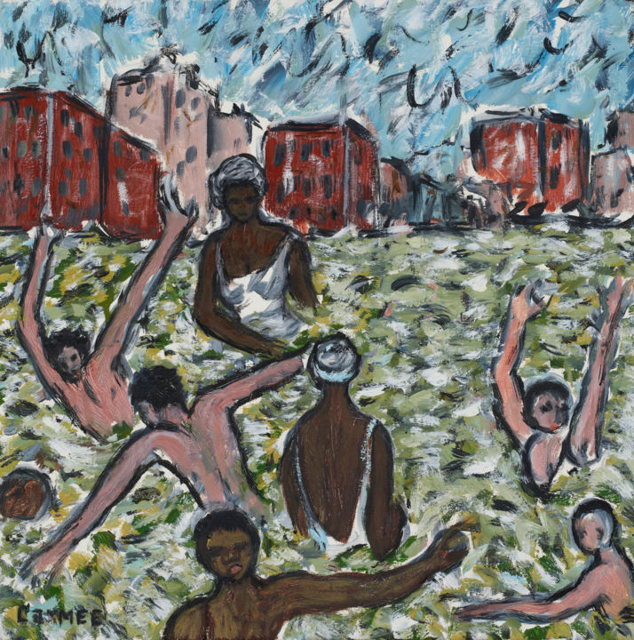 Kevin Larmee_Chicago-Beach.jpg - Painting,  24x24 in, ©2005 by Kevin Larmee -                                                                                                                                                                                                  kevin larmee, kevin larmee art, kevin larmee painting, chicago beach art