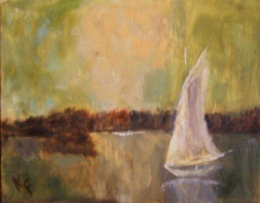 """Painting titled """"Sail Away with Me"""" by Kathleen Farmer, Original Art, Oil"""