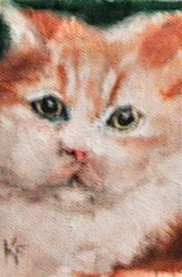 """Painting titled """"Fat Cat ACEO mini o…"""" by Kathleen Farmer, Original Art, Oil"""