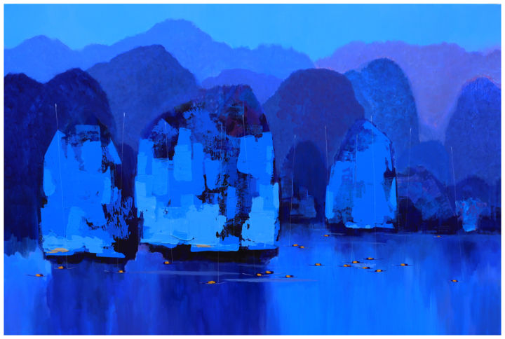 A Peaceful Day no.3 - Painting,  31.5x47.2x1.6 in, ©2018 by Khanh The Bui -                                                                                                                                                                                                                                                                                                                                                                                                                                                                                                                                                                                                                                      Expressionism, expressionism-591, Asia, Beach, Boat, Landscape, Mountainscape, Rock Mountains, fishing village, acrylic painting, boat on the sea, blues water, peaceful day