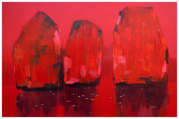 Red in Halong Bay No.3 - Painting,  80x120x3.5 cm ©2018 by Khanh The Bui -                                                                                                                    Art Deco, Expressionism, Impressionism, Beach, Boat, Landscape, Mountainscape, Seascape, mountain painting, sea/water, boats on the sea, rook painting, red, vietnam