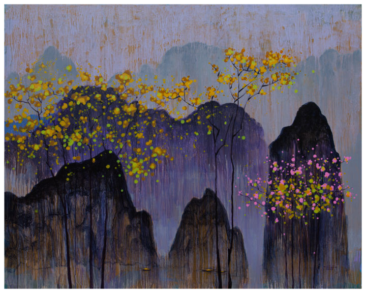 """Painting titled """"Ha Long Bay in autu…"""" by Khanh The Bui, Original Art, Acrylic"""