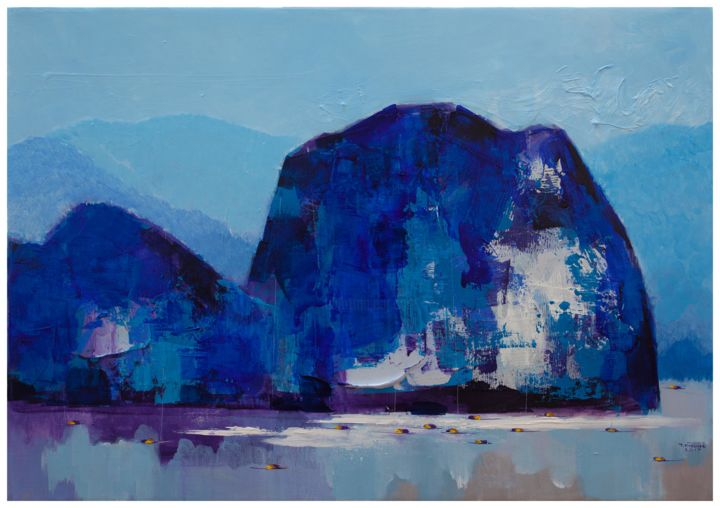 """Painting titled """"Blue mountain no.2"""" by Khanh The Bui, Original Art, Acrylic"""