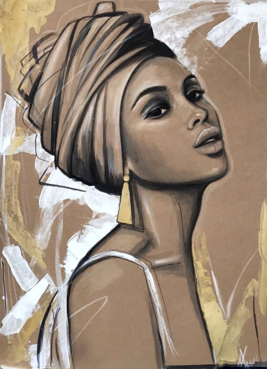 """Painting titled """"Golden Queen"""" by Leysan Lim, Original Art, Watercolor"""