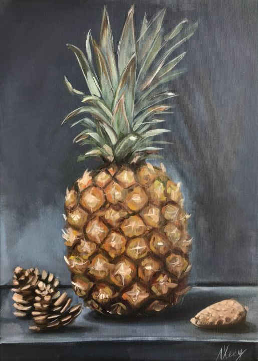 """Painting titled """"Pineapple and pine…"""" by Leysan Lim, Original Art, Oil"""