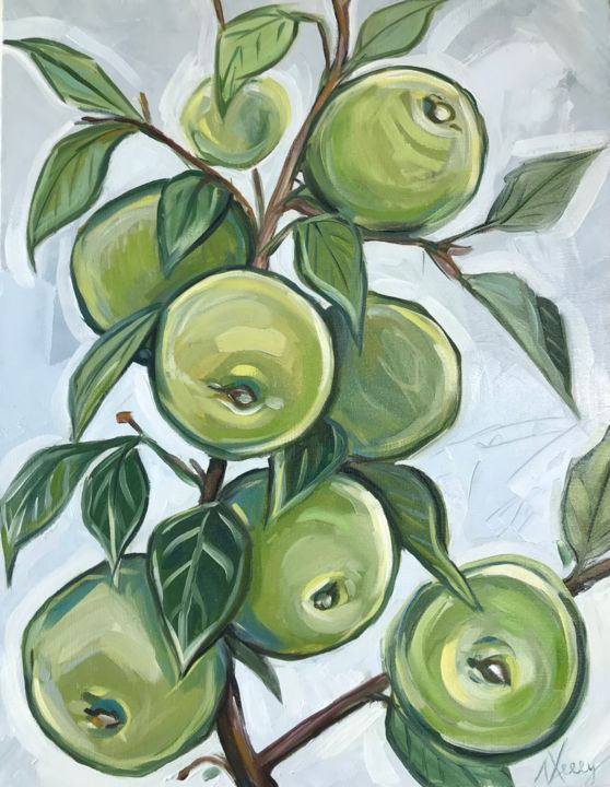 """Painting titled """"Green apples on tre…"""" by Leysan Lim, Original Art, Oil"""