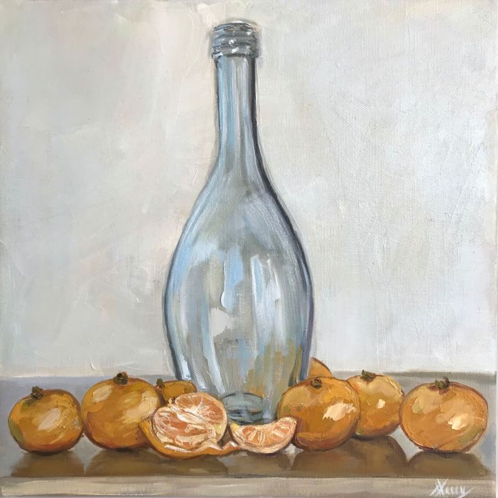 """Painting titled """"Tangerines and bott…"""" by Leysan Lim, Original Art, Oil"""