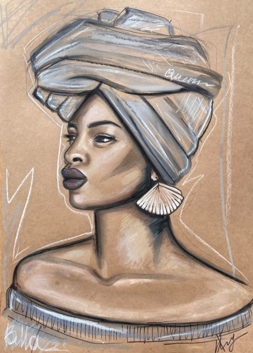 """Painting titled """"African queen N7 Mo…"""" by Leysan Lim, Original Art, Acrylic"""