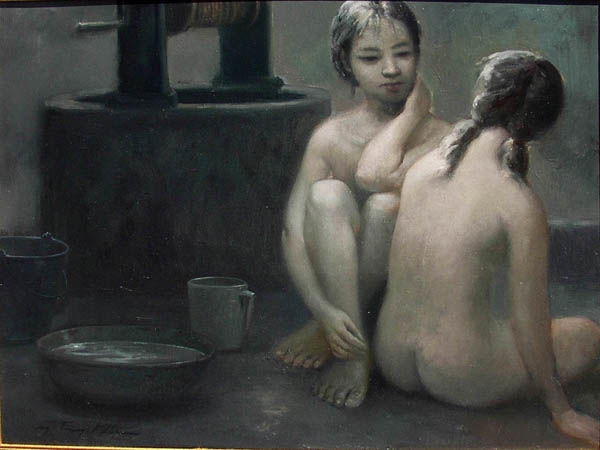 """Painting titled """"BY THE WELL"""" by Khoi Nguyen, Original Art, Oil"""