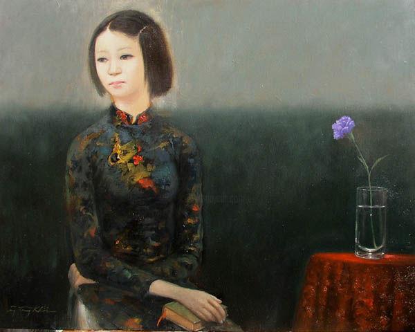 """Painting titled """"WOMEN AND VIOLET CA…"""" by Khoi Nguyen, Original Art, Oil"""