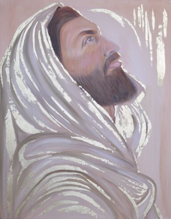 """Painting titled """"Jesus Christ"""" by Kholoud Androwis, Original Art, Oil"""