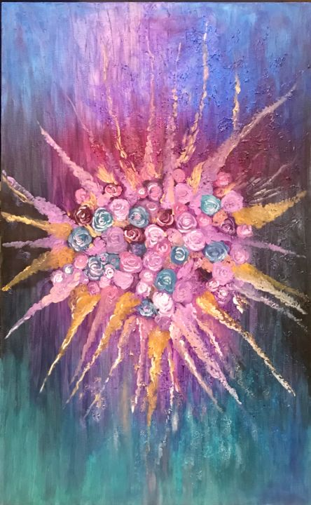 """Painting titled """"The explosion"""" by Kholoud Androwis, Original Art, Oil"""
