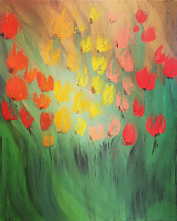 """Painting titled """"Tulips"""" by Kholoud Androwis, Original Art, Oil"""