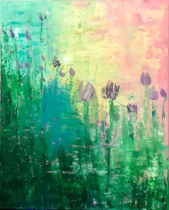 """Painting titled """"Tulips field"""" by Kholoud Androwis, Original Art, Oil"""