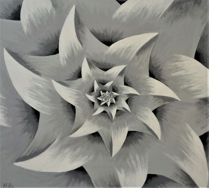flower-abstract - Painting,  15.8x17.7x0.8 in ©2019 by Nikolay Bogdan -                                            Abstract Art, Flower, Flower, Abstract, Geometric, Monochrome