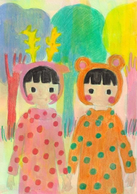 """Painting titled """"Children of the for…"""" by Kiki, Original Art,"""